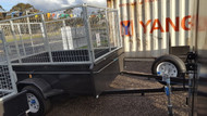 "8 X 5 Heavy Duty Trailer Australian Made 1500kg ATM, 20""/50cm high Sides with hydrolic brakes, 3ft high cage, Long Draw-bar, New Wheels and Tyres"
