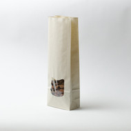 Sugarcane Medium Compostable Flat Bottom Gusset Bag with Window [1000 Bags]