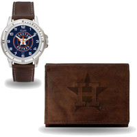 Houston Astros Leather Watch & Wallet Set w/Case