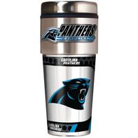 Carolina Panthers 16oz Travel Tumbler with Metallic Wrap Logo