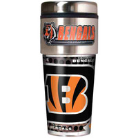 Cincinnati Bengals 16oz Travel Tumbler with Metallic Wrap Logo