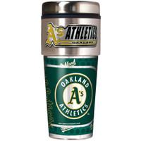 Oakland Athletics 16oz Travel Tumbler with Metallic Wrap Logo