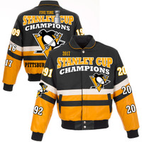 Pittsburgh Penguins 2017 NHL Stanley Cup Champions Full Leather Jacket - Black