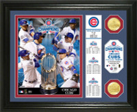 Chicago Cubs 2016 World Series Champions 2pc Bronze Coin Banner Photo Mint LE