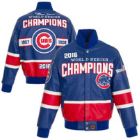Chicago Cubs 2016 MLB World Series Champions Full Leather Jacket - Royal