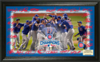 """Chicago Cubs 2016 World Series Champions """"Celebration"""" Signature Field Framed LE"""
