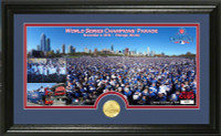 """Chicago Cubs 2016 World Series Champions """"Parade"""" Panoramic Bronze Coin Photo Mint Framed LE"""