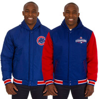 Chicago Cubs 2016 World Series Champs Fleece Reversible Hooded Jacket Royal/Red