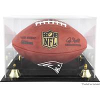 New England Patriots Logo Acrylic Gold Riser Football Display Case