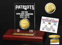 New England Patriots 5 Time Super Bowl Championship 24k Gold Coin Display LE 5,000