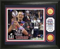 New England Patriots Tom Brady 2016 5X Super Bowl LI Champions MVP 2pc Bronze Coin Photo Mint LE 5000