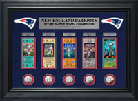 New England Patriots 5 Time Super Bowl Champions 5pc Silver Coin and 5pc Ticket Collection Framed LE 1,000