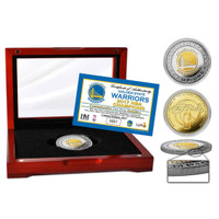 Golden State Warriors 2017 NBA Champions Gold and Silver 2-Tone Coin w/Cherry Wood Glass Case LE 2,017