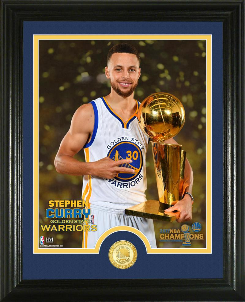 Golden State Warriors Stephen Curry 2017 NBA Finals Trophy Bronze