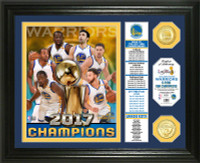 "Golden State Warriors 2017 NBA Finals Champions ""Banner"" 2pc Bronze Coin Photo Mint Framed LE 5,000"