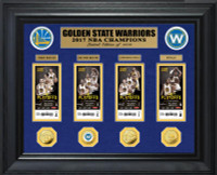 Golden State Warriors 2017 NBA Finals Champions 4pc Deluxe Gold Coin & 4pc Ticket Collection LE 1,000