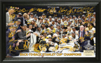 Pittsburgh Penguins Back to Back NHL Stanley Cup Champions Signature Rink Framed LE 5,000