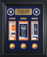 """Houston Astros Highland Mint 2017 World Series Champions 22"""" x 18"""" Deluxe Gold Coin & Ticket Collection LE 1000"""