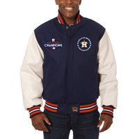 Houston Astros 2017 World Series Champions Wool Jacket with Leather Sleeves - Navy/White