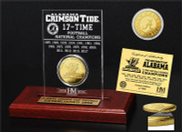 Alabama Crimson Tide 2017 17-Time Football National Championship 24 Gold Coin Etched Display LE 5,000