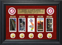 Alabama Crimson Tide National Championship Series 5pc Gold Coin and 5pc Ticket Collection Framed LE 1,000