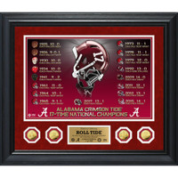 "Alabama Crimson Tide 17-Time National Championship Special Edition Legacy 24"" x 30"" 4pc Gold Coin Photo Mint Framed LE 500"