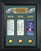 Philadelphia Eagles Super Bowl LII Champions 3pc 24k Gold and 3pc Ticket Deluxe Collection LE 1,000
