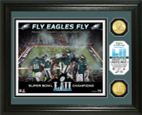 Philadelphia Eagles Super Bowl LII Champions 2pc 24k Gold Coin Fly Eagles Fly Celebration Photo Mint LE 5,000