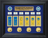 Golden State Warriors 6-Time NBA Champions Deluxe 4pc Gold Coin & 6pc Banner Collection LE 1,000