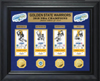 Golden State Warriors 2018 Back to Back NBA Finals Champions 4pc Deluxe Gold Coin & 4pc Ticket Collection LE 1,000