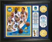 "Golden State Warriors 2018 NBA Finals Champions ""Banner"" 2pc Bronze Coin Photo Mint Framed LE 5,000"