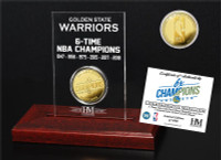 Golden State Warriors 2018 NBA Finals 6-Time Champions Gold Coin Etched Acrylic Display LE 5,000