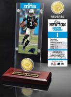 Cam Newton Ticket & Bronze Coin Acrylic Desk Top