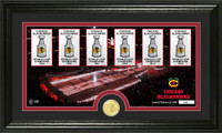 *Chicago Blackhawks 6-Time Stanley Cup Champions Bronze Coin Panoramic Photo Mint