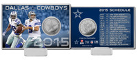 Dallas Cowboys 2015 Schedule Silver Coin Card