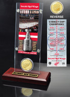 Detriot Redwings 11x Stanley Cup Champions Ticket and Bronze Coin Acrylic Display