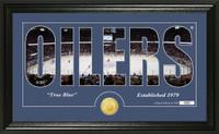 Edmonton Oilers Silhouette Bronze Coin Panoramic Photo Mint