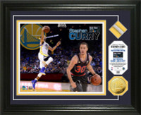 Stephan Curry 2015 All-Star Game Used Net Gold Coin Photo Mint