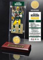 Aaron Rodgers Ticket & Bronze Coin Acrylic Desk Top