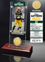 Clay Matthews Ticket & Bronze Coin Acrylic Desk Top