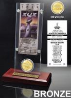 New England Patriots Super BowlxLIX Champions Ticket & Bronze Coin Acrylic Desk Top