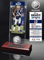 Tom Brady Ticket & Minted Coin Acrylic Desk Top
