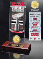 New Jersey Devils 3x Stanley Cup Champions Ticket and Bronze Coin Acrylic Display