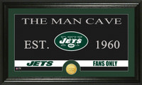 New York Jets Man Cave Bronze Coin Panoramic Photo Mint