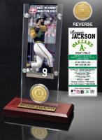 Reggie Jackson Hall of Fame Ticket & Bronze Coin Acrylic Desk Top