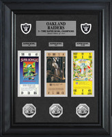 Oakland Raiders 3 Time Super Bowl 3pc Silver Coin and 3pc Ticket Collection Framed LE 1000