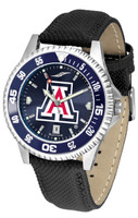 Arizona Wildcats Competitor Crimson AnoChrome Leather Watch with Colored Bezel (Men's or Women's)