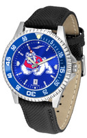 Fresno State Bulldogs Competitor Leather AnoChrome Leather Watch - Color Dial w/Colored Bezel (Men's or Women's)