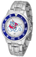 Fresno State Bulldogs Competitor Stainless Steel Watch - White Dial (Men's or Women's)