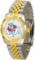 Fresno State Bulldogs Executive  2-Tone 23k Gold Stainless Steel Watch - White Dial (Men's or Women's)